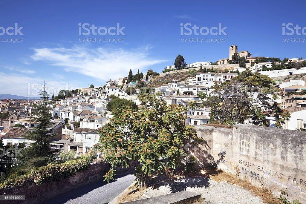 View of the Albaycin in Granada, Andalusia, Spain stock photo