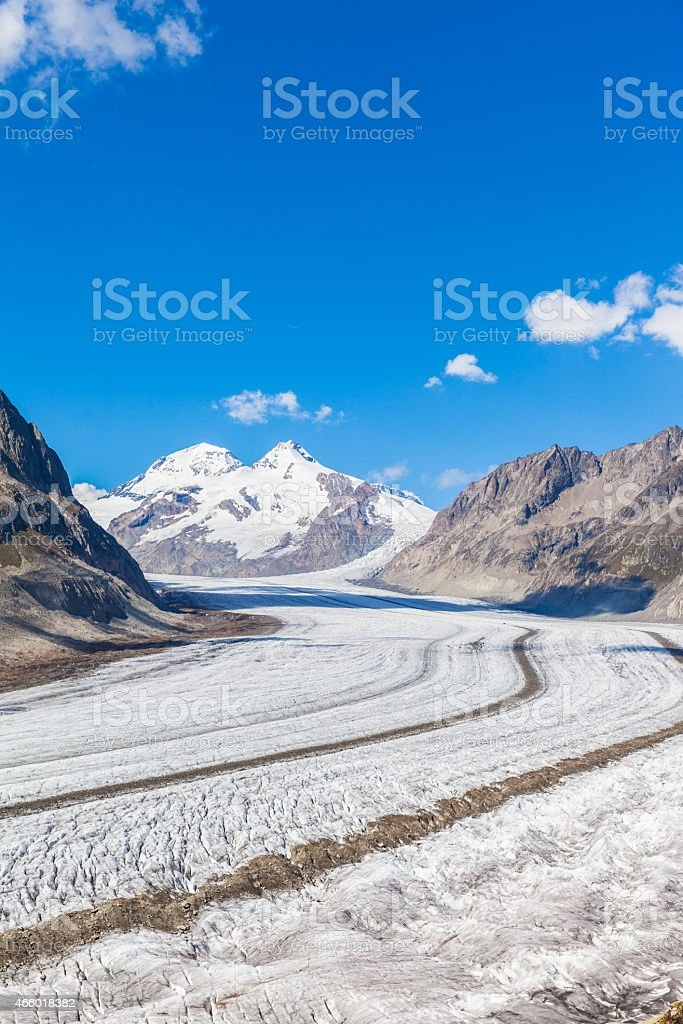 View of the Aletsch glacier on Mountains stock photo