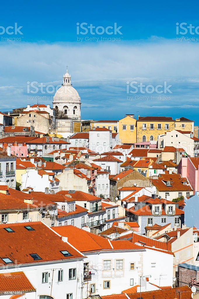 View of the Alfama Neighbourhood in Lisbon, Portugal stock photo
