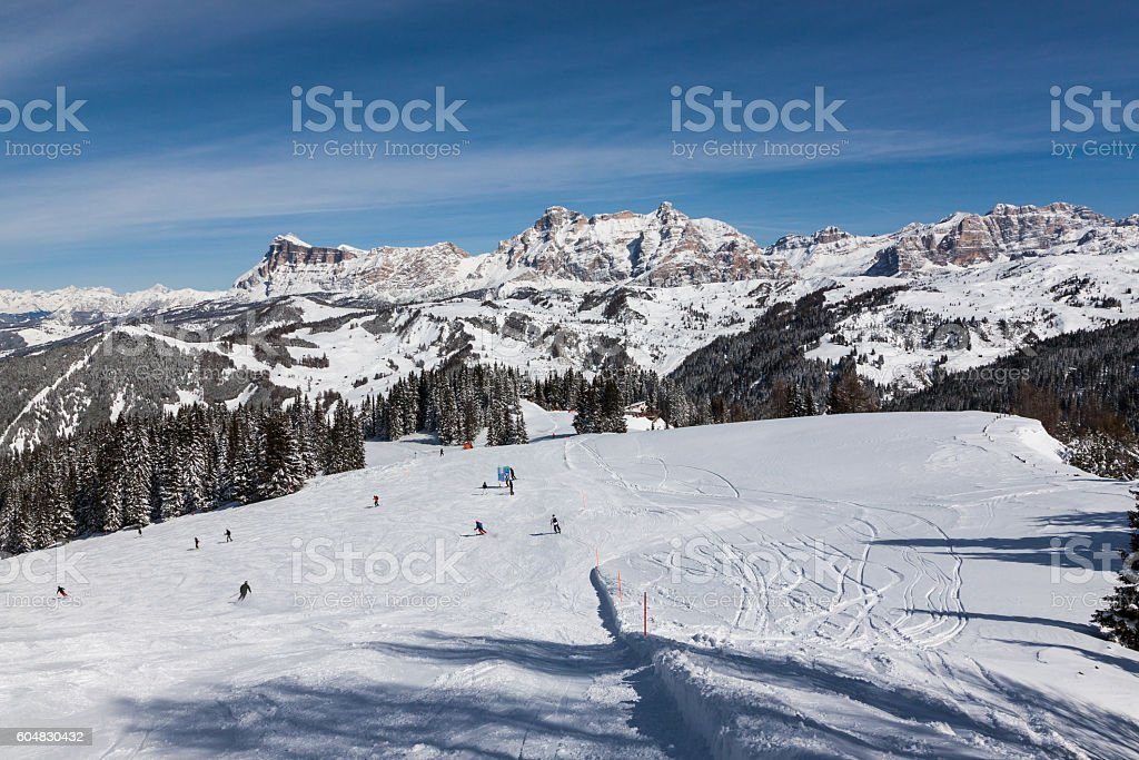 View of the Alpe di Fanes cliffs, Italian Dolomites. stock photo