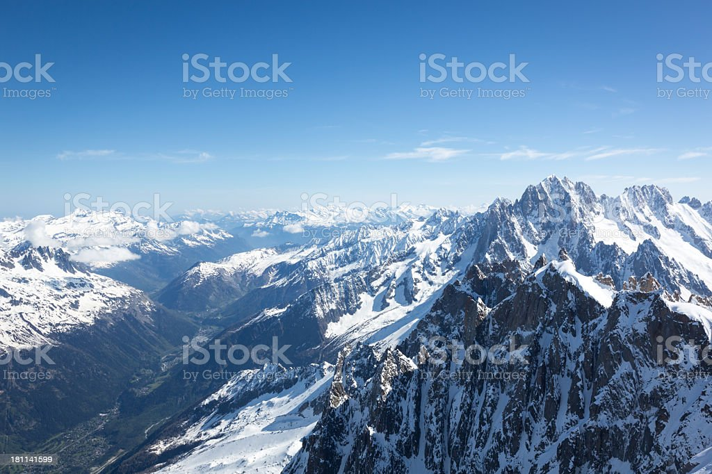 View of the Alps from Aiguille du midi, Chamonix, France royalty-free stock photo