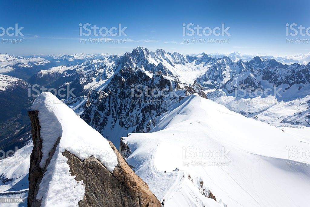 View of the Alps from Aiguille du midi stock photo
