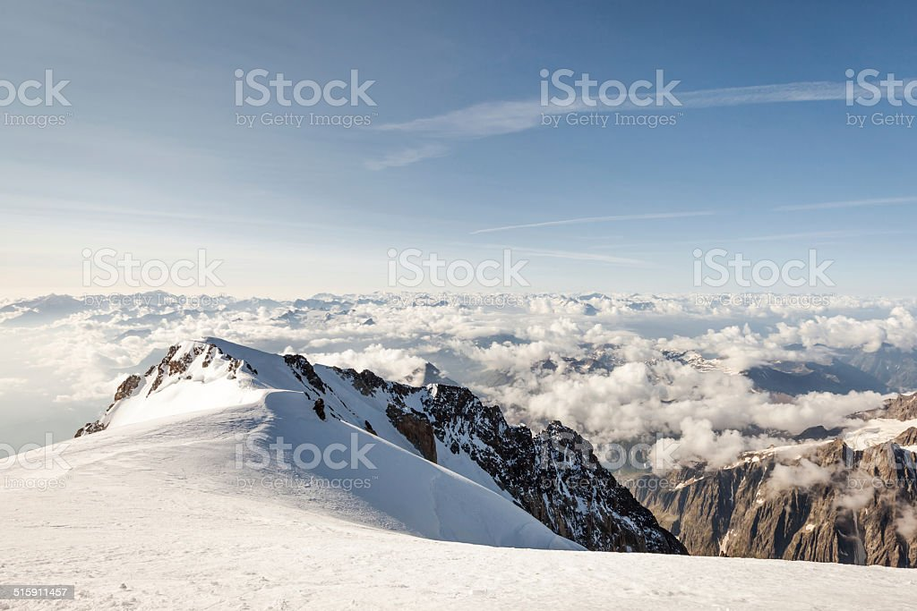 View of the Alps from the top of Mont Blanc stock photo