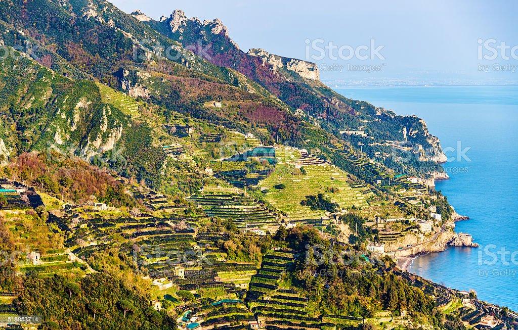 View of the Amalfi Coast from Ravello stock photo