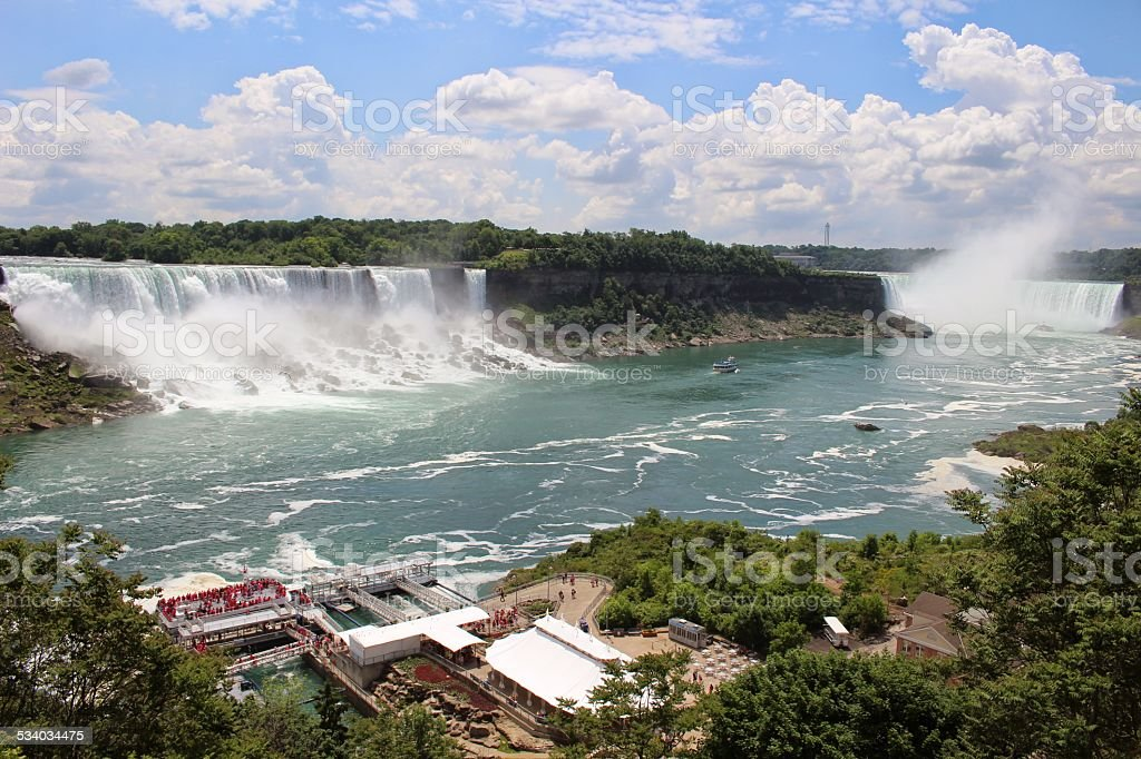 View of the American, Bridal Veil and Horseshoe Falls stock photo