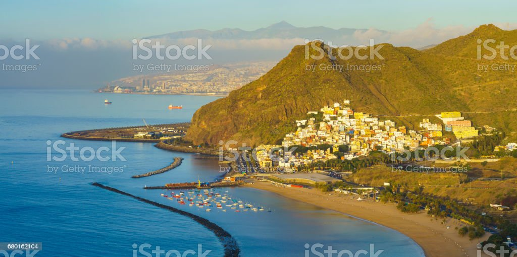 View of the Anaga mountains, the beach overlooking the ocean from the lookout above Teresitas beach in Tenerife stock photo