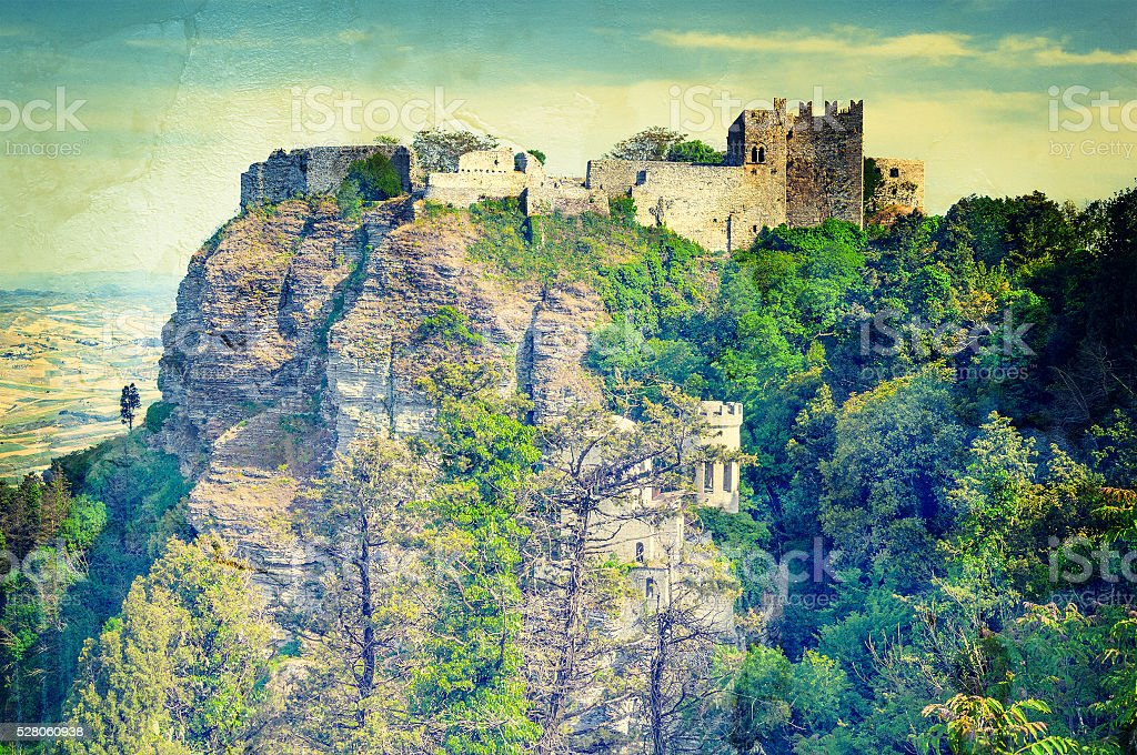 View of the ancient fortresses of Erice town in vintage style. stock photo