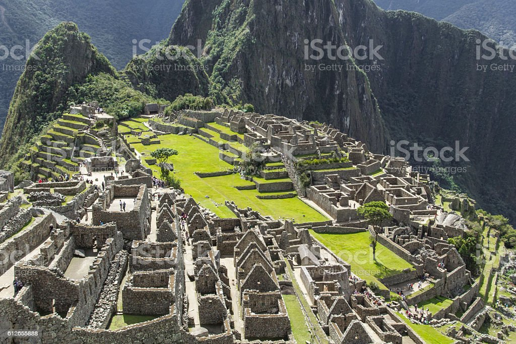 View of the ancient Inca City of Machu Picchu. stock photo