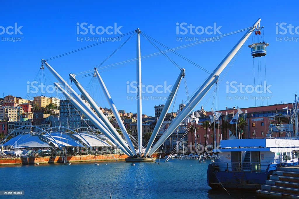 View of the ancient port of Genoa, Italy stock photo