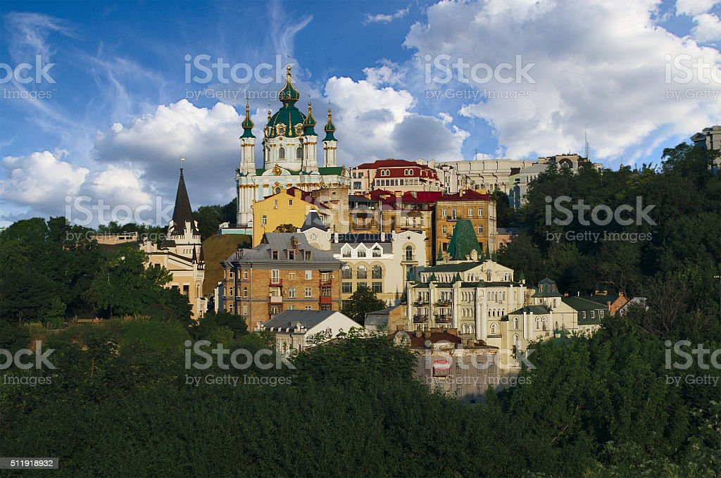 View of the Andrew's Descent in Kiev stock photo