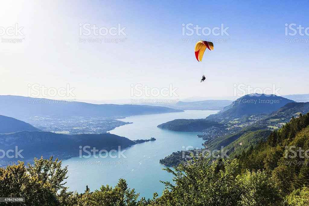 View of the Annecy lake from  Col du Forclaz stock photo