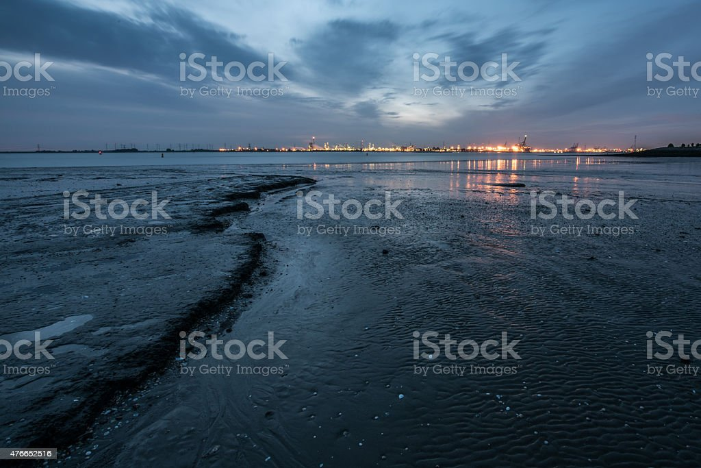 View of the Antwerp harbor industry from the west stock photo