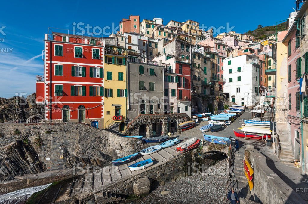 View of the architecture of Riomaggiore town, Italy stock photo