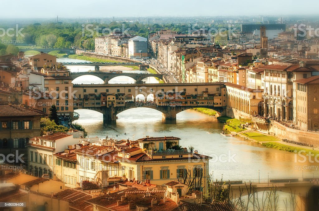 View of the Arno, Florence Italy stock photo