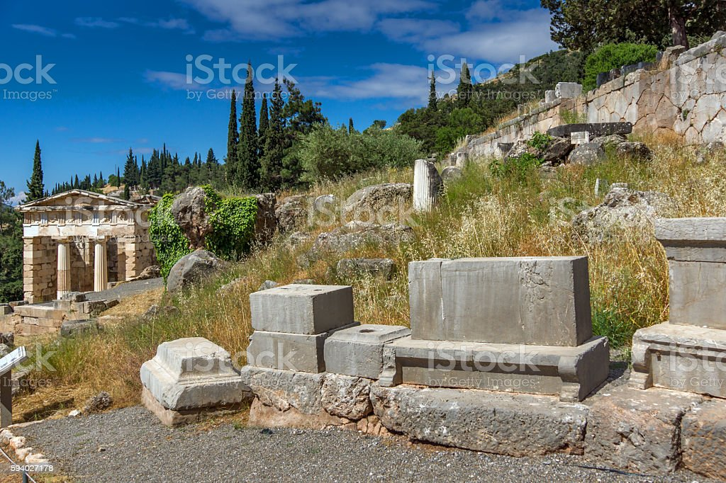 View of the Athenian Treasury in Delphi, Central Greece stock photo