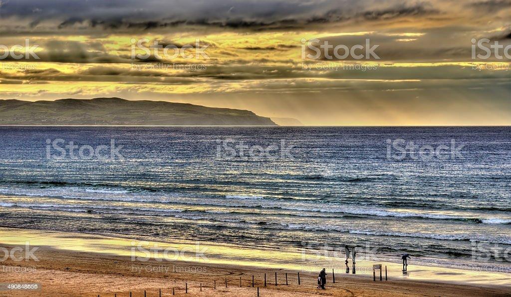 View of the Atlantic Ocean in Portstewart, Northern Ireland stock photo