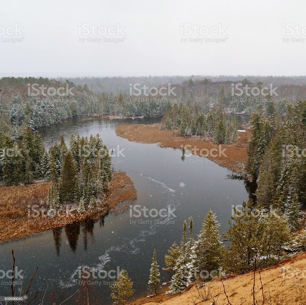 view of the Ausable river from the high banks stock photo