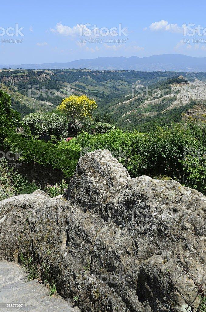 View of the badlands in Civita, Lazio, Italy stock photo