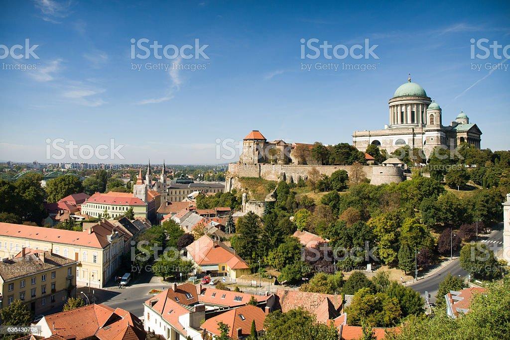 View of the Basilica of St. Adalbert in Esztergom stock photo