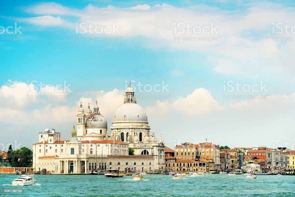 view of the Basilica Santa Maria della Salute in Venice stock photo