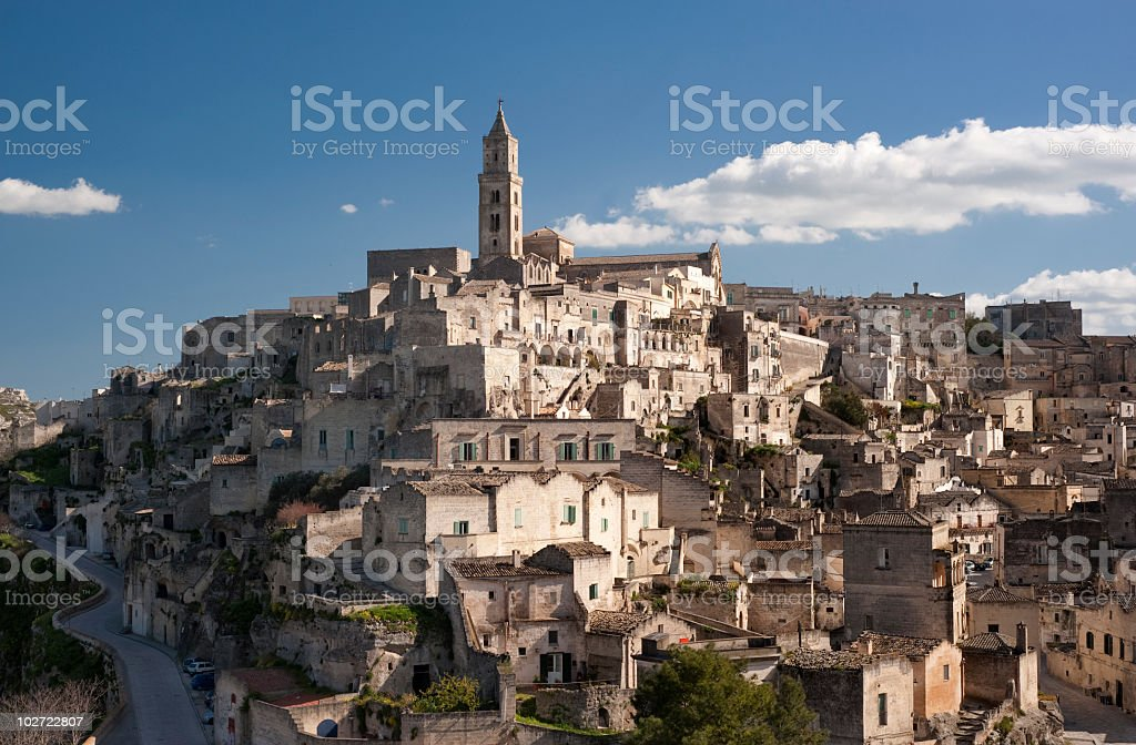 View of the Basilicata and skyline in Matera, Sassi stock photo