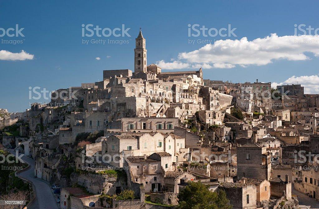 View of the Basilicata and skyline in Matera, Sassi stock photo