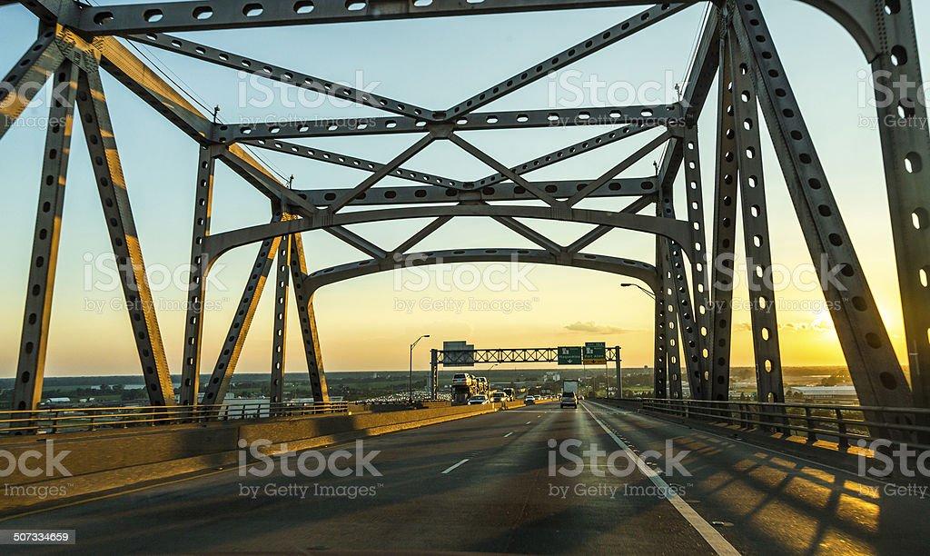 view of the Baton Rouge bridge on Interstate Ten stock photo