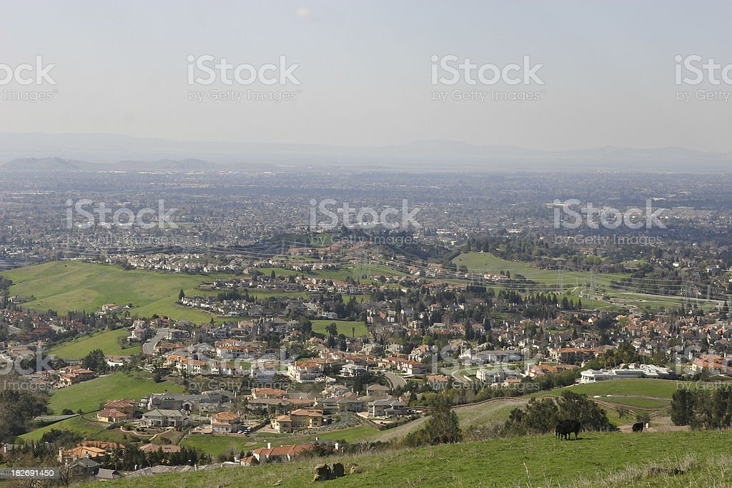 view of the bay area from Mission Peak, fremont stock photo
