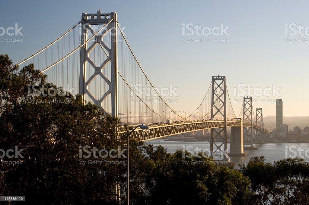 View of the bay bridge in San Francisco California stock photo