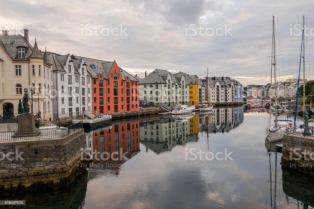 View of the Bay in the center of the Alesund early in the morning stock photo