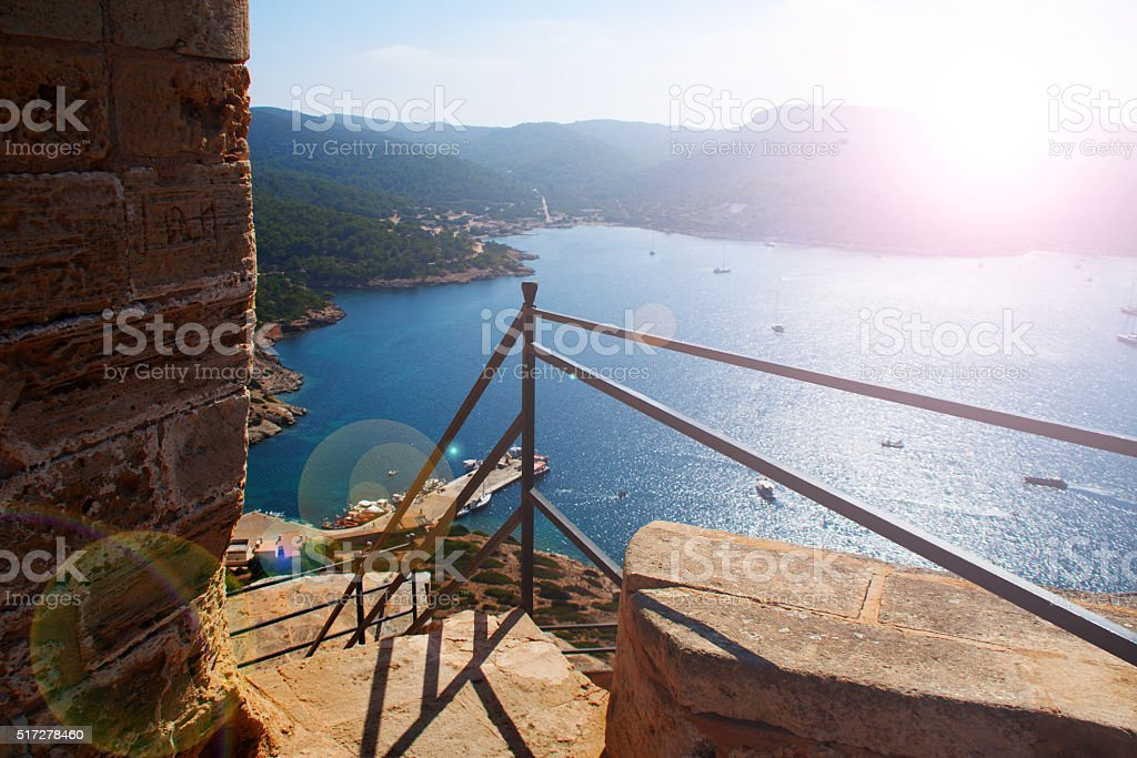 View of the bay of Cabrera stock photo