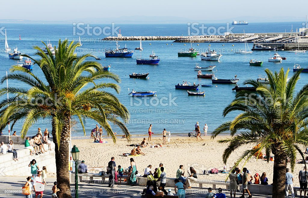 View of the bay of Cascais stock photo