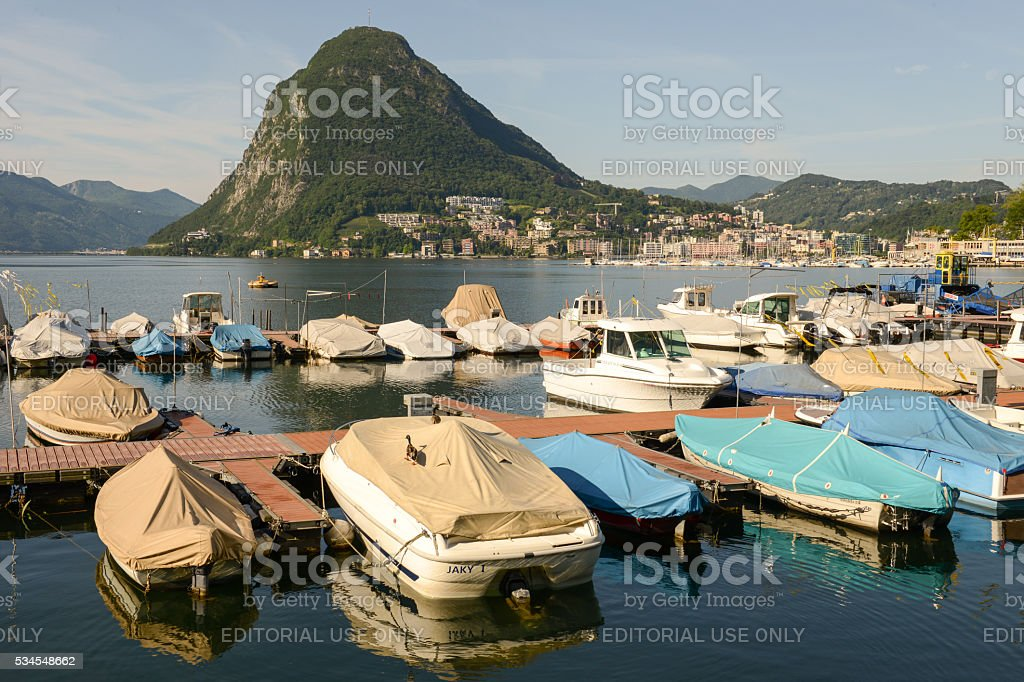 View of the bay of Lugano stock photo