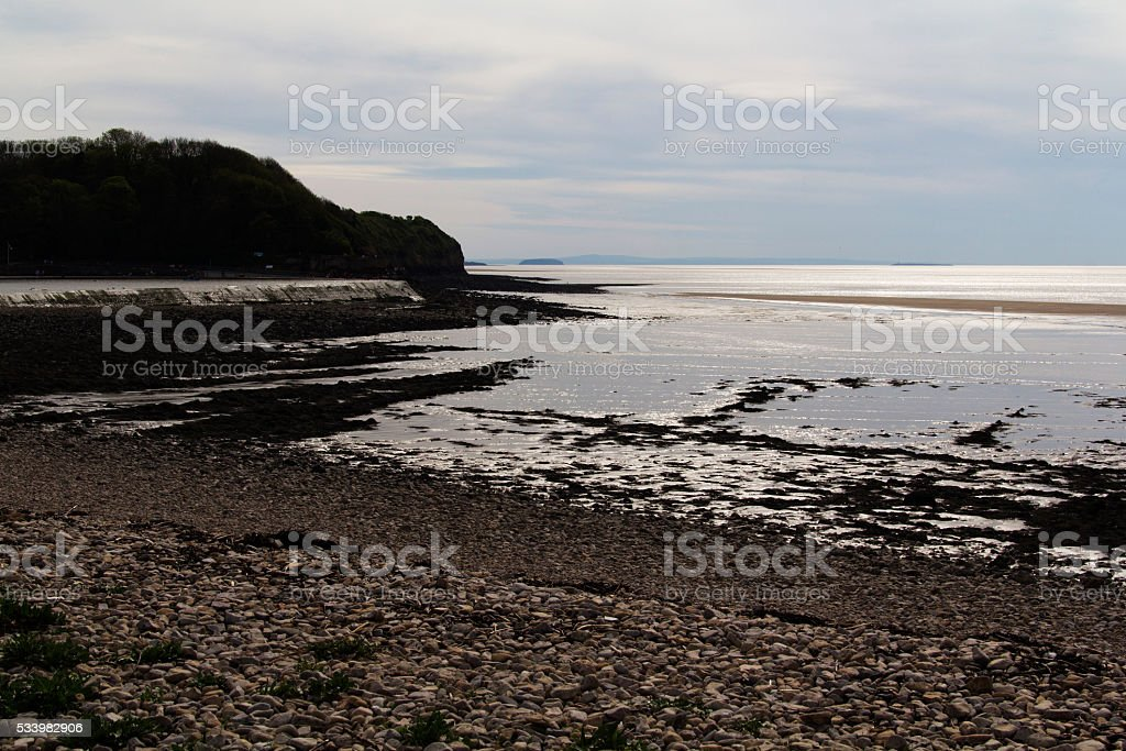 View of the beach at Clevedon, Somerset, England stock photo