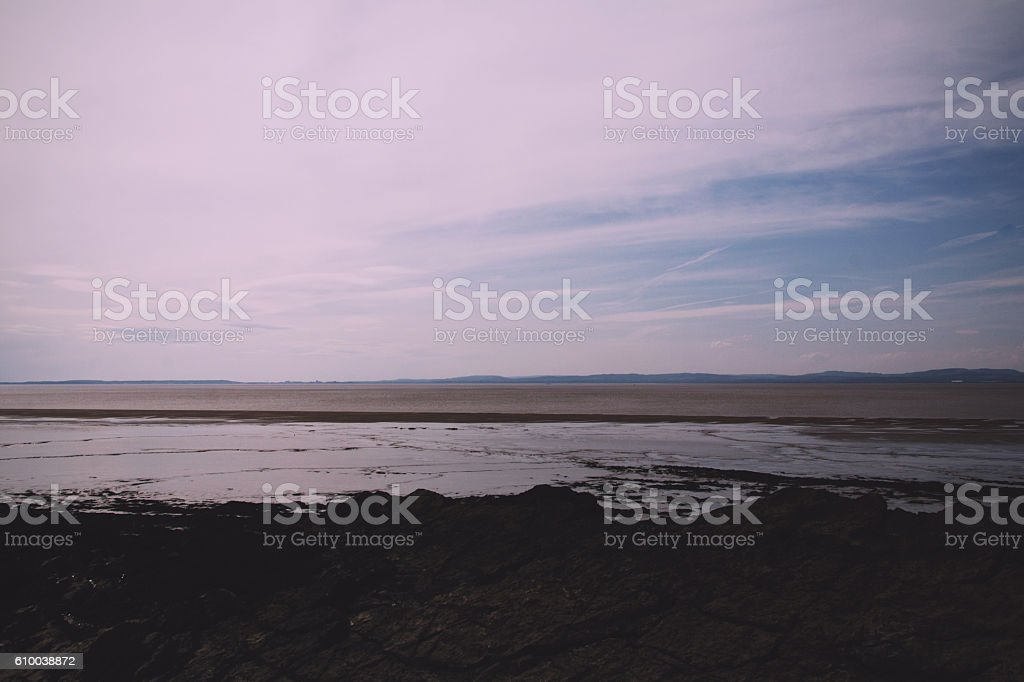 View of the beach at Clevedon, Somerset, England Vintage Retro stock photo