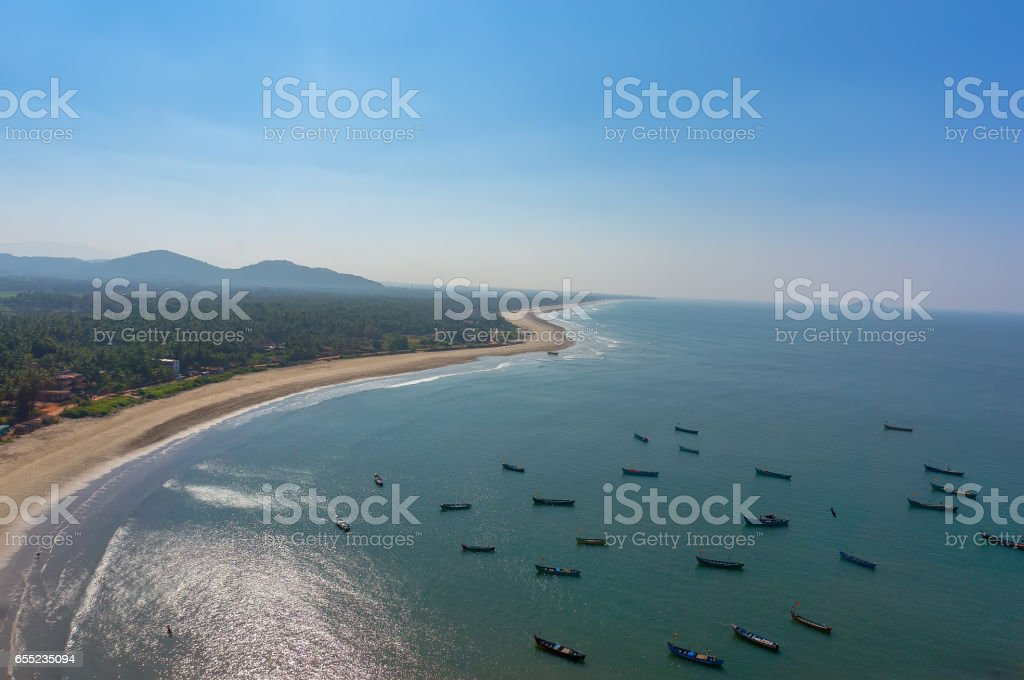 View of the beach from the tower-gopuram in Murudeshwar stock photo