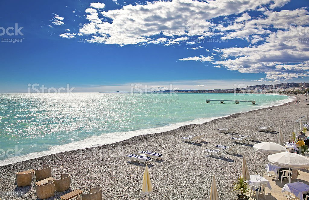 View of the beach in Nice, France. stock photo