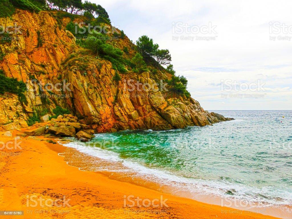 View of the beach in Tossa de Mar. Costa Brava, Spain stock photo
