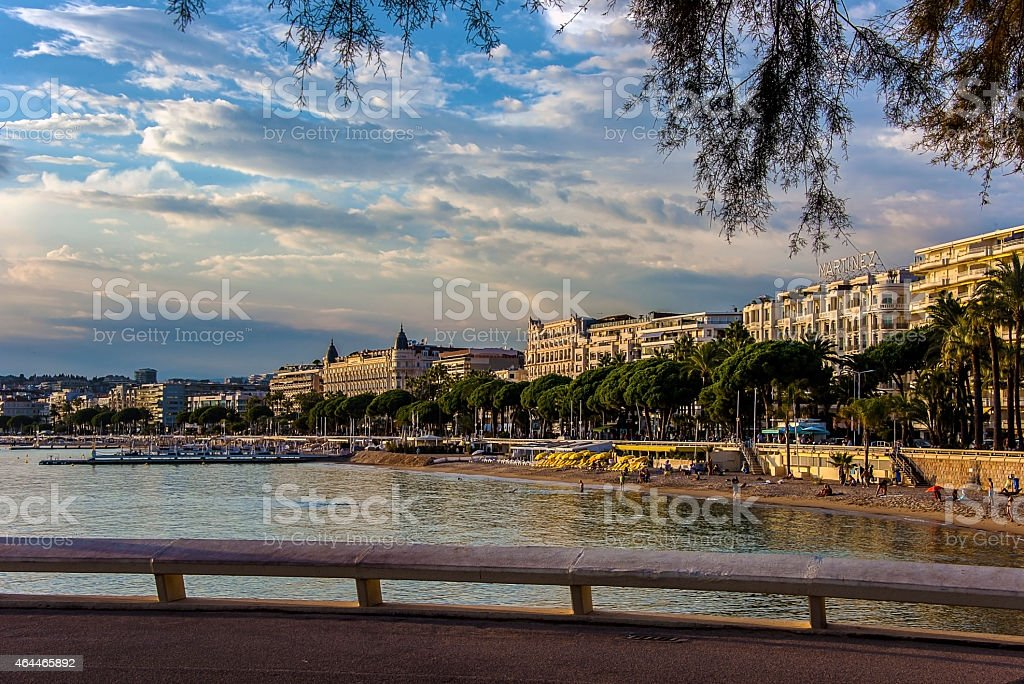 View of the beachfront in Cannes stock photo