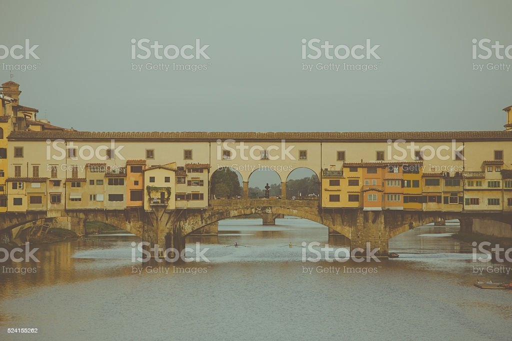View of the beautiful city Florence with Ponte Vecchio bridge stock photo