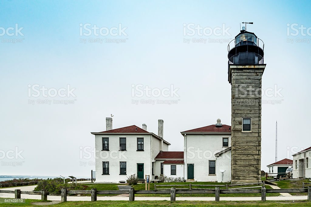View of the Beavertail lighthouse stock photo