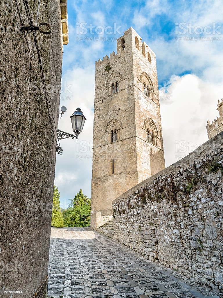 View of the Bell Tower of Cathedral of Erice stock photo