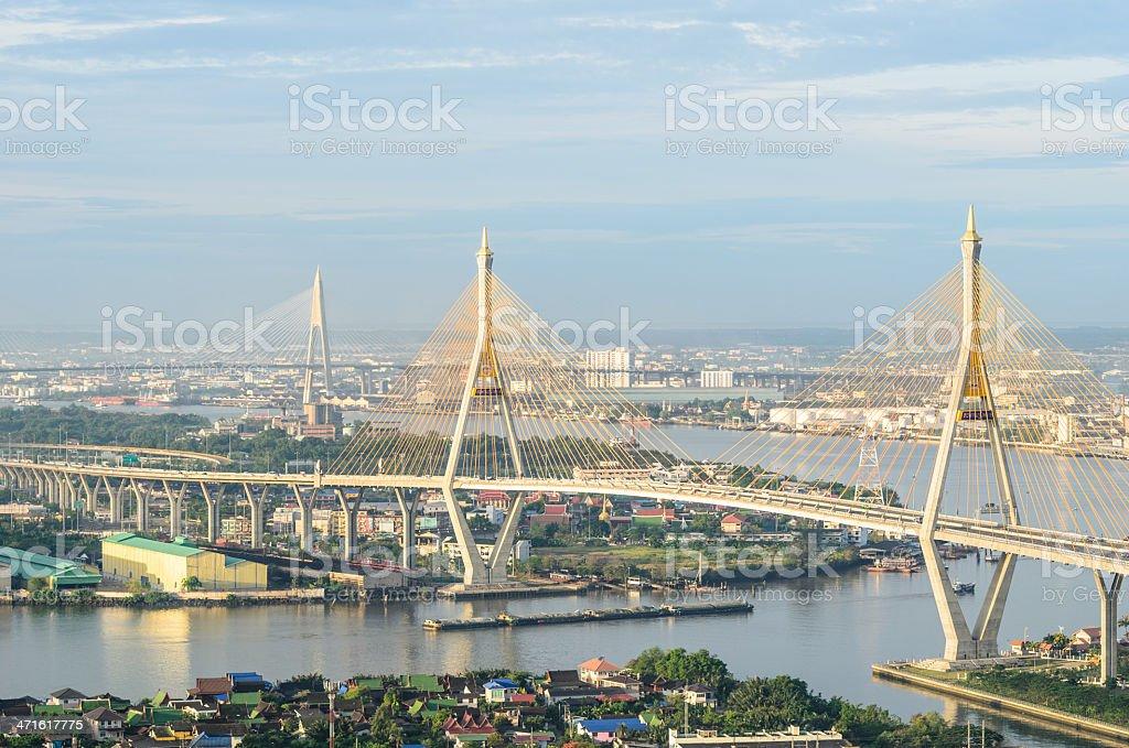 View of the Bhumibol bridge royalty-free stock photo