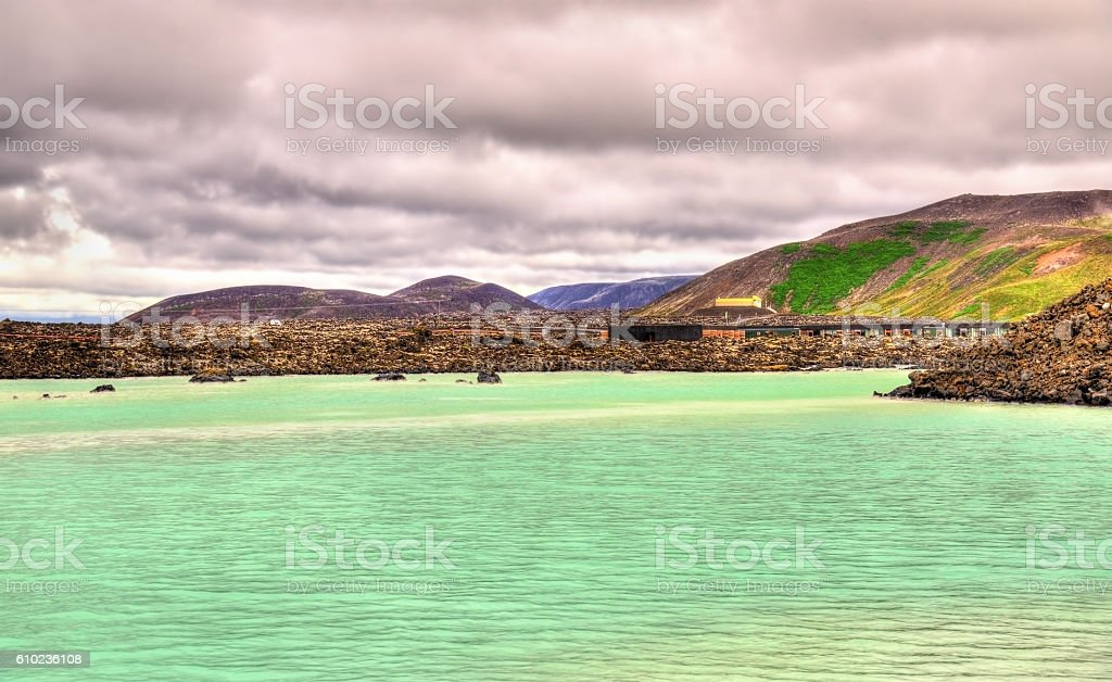 View of the Blue Lagoon in Iceland stock photo
