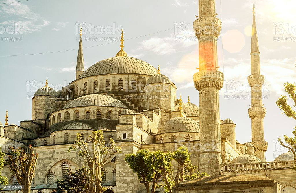 View of the Blue Mosque (Sultanahmet Camii) in Istanbul stock photo