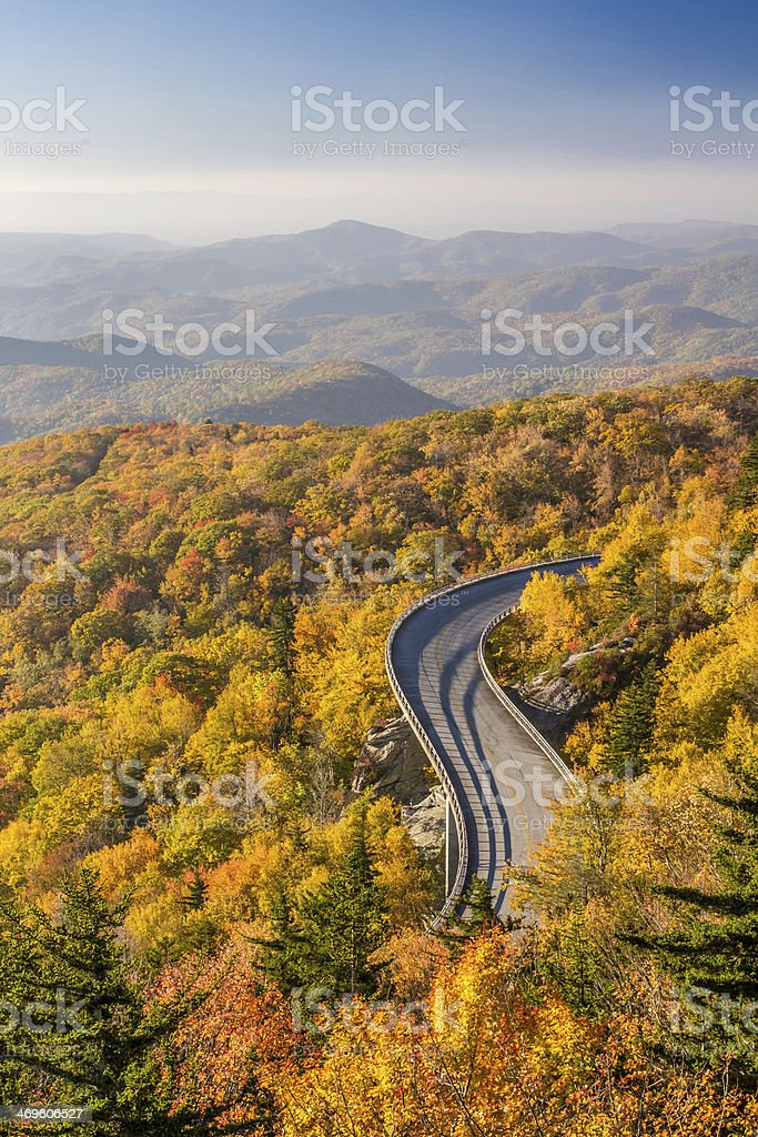 View of the Blue Ridge Parkway during autumn stock photo