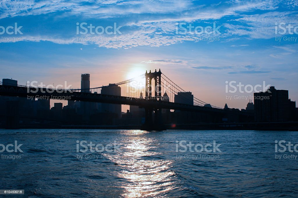 View of the Brooklyn Bridge at sunset stock photo