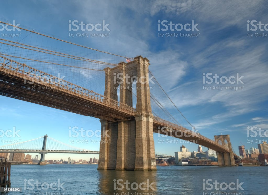 View of the Brooklyn Bridge from the Manhattan Side, New York City stock photo