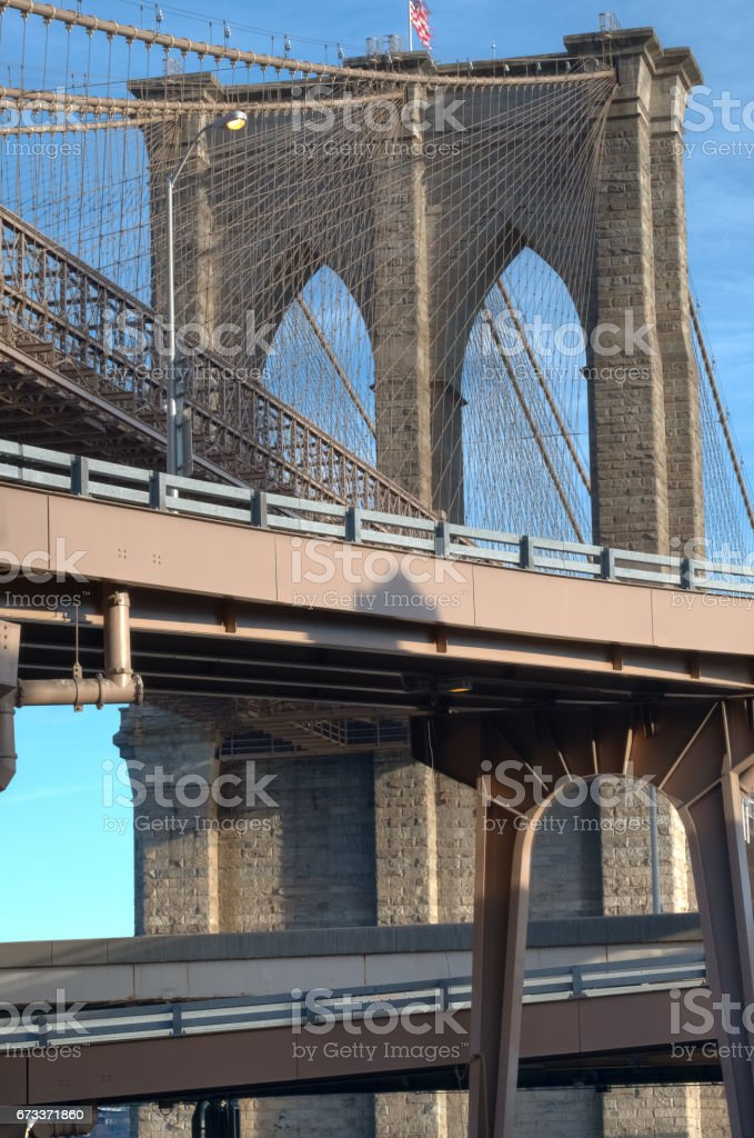 View of the Brooklyn Bridge from the street level access, NYC stock photo