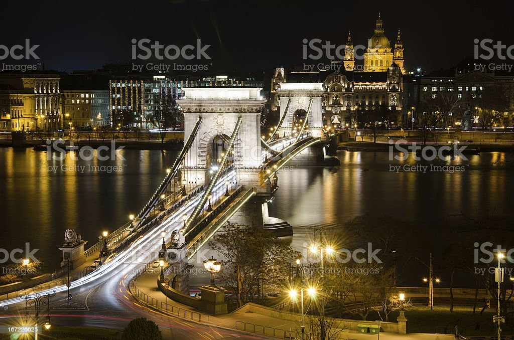 View of the Budapest Chain Bridge at Night. royalty-free stock photo